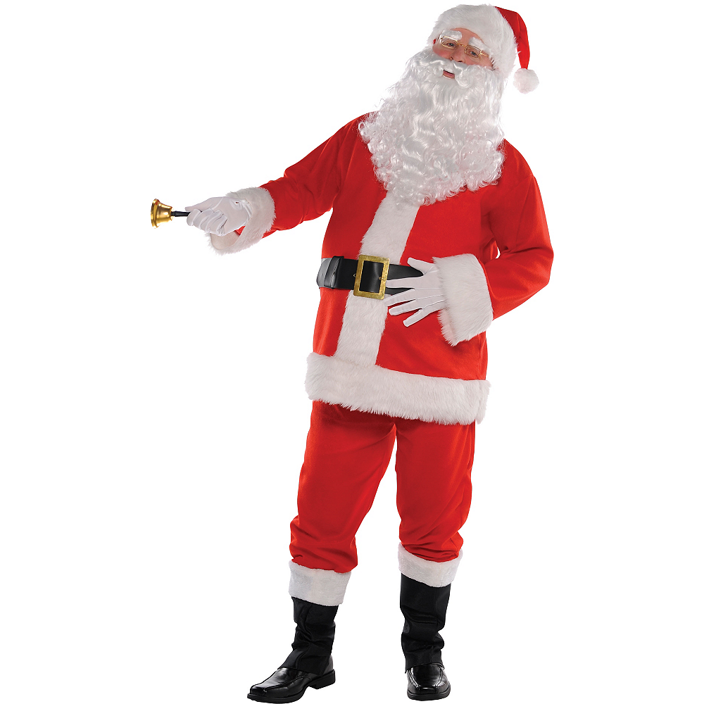 Nav Item for Adult Flannel Santa Suit Costume Kit Image #2