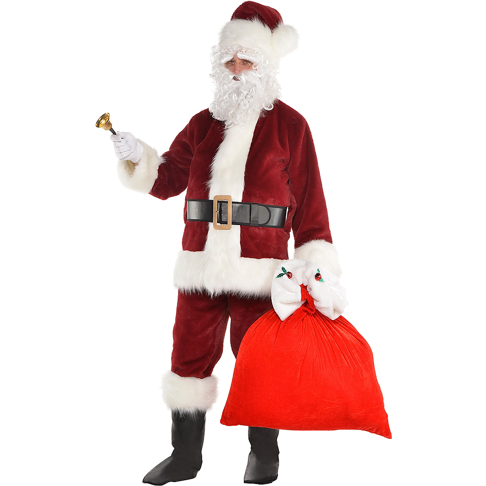 Adult Dark Red Santa Suit Costume Kit Image #1