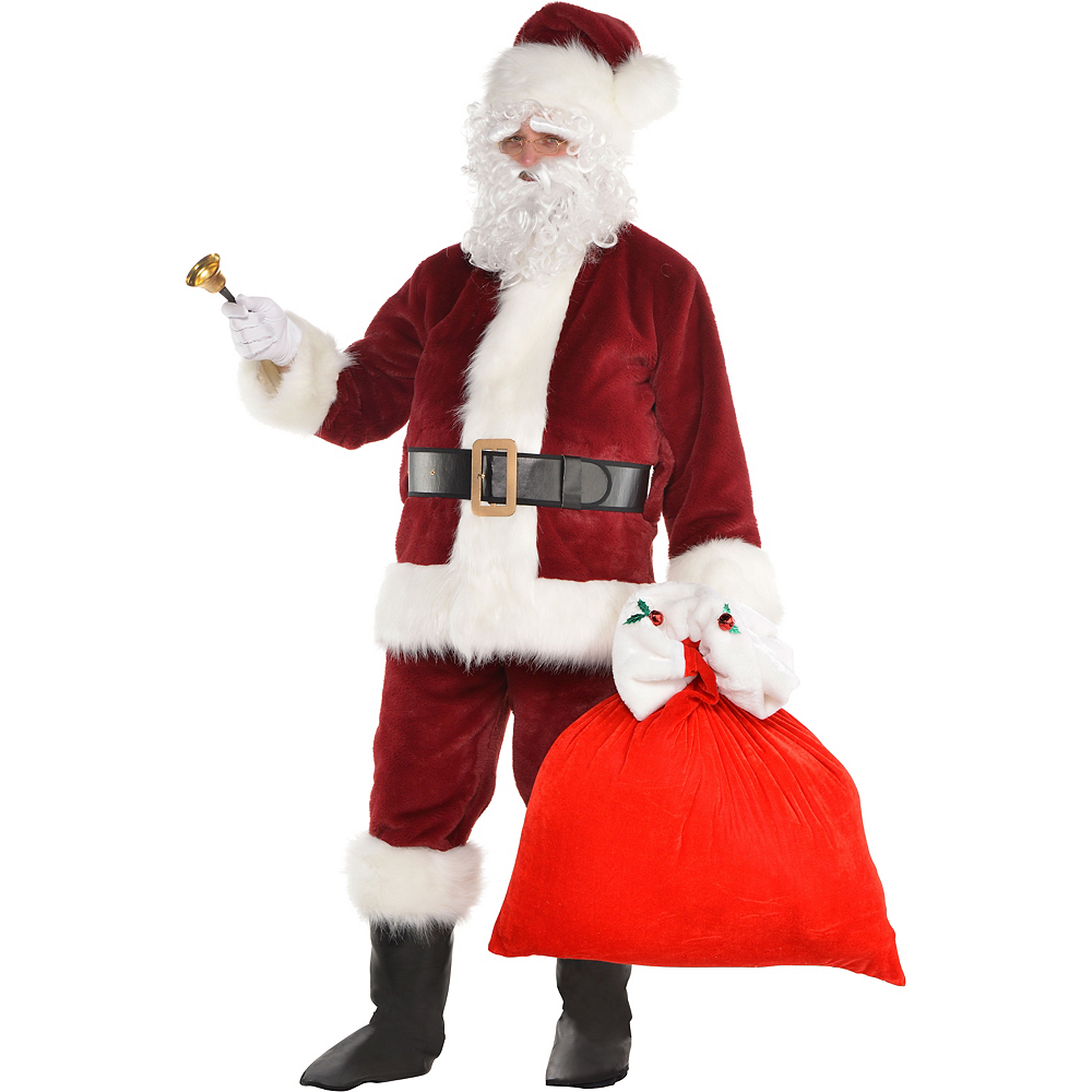 Adult Dark Red Santa Suit Costume Kit Image #2