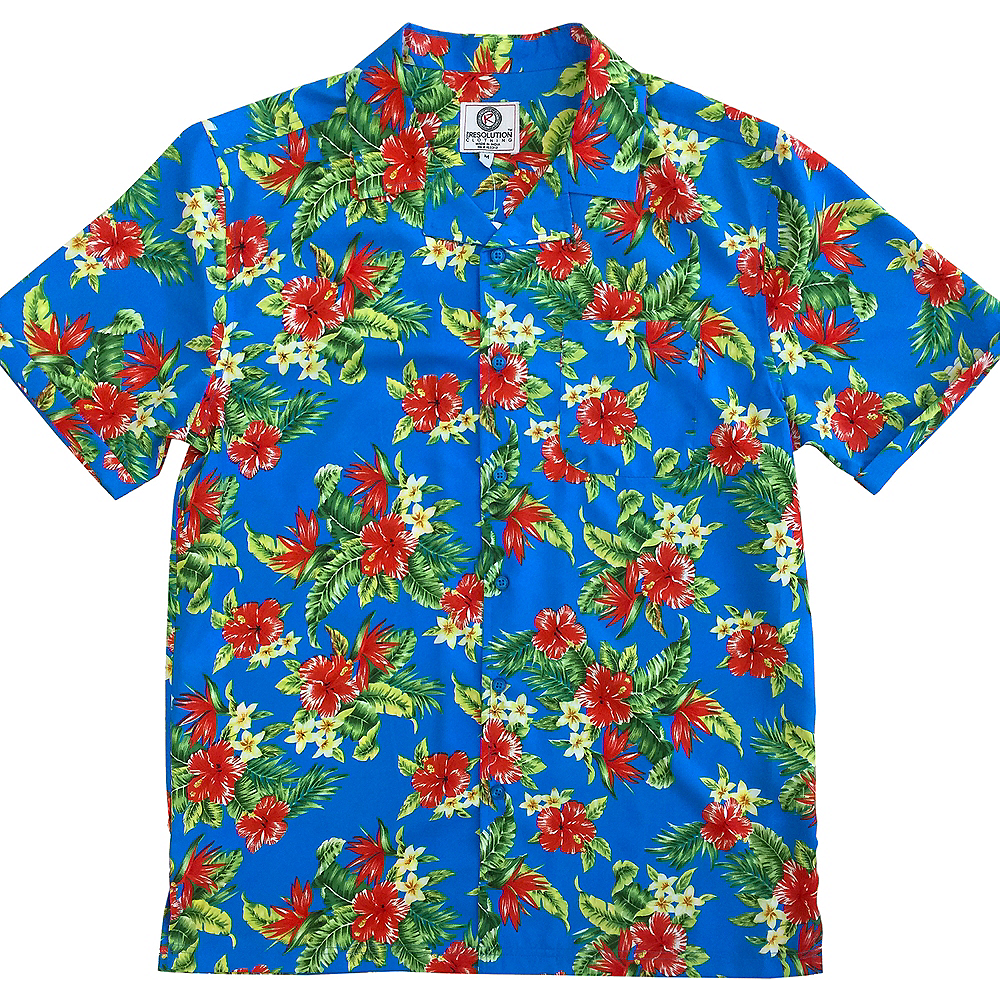 Light Blue Hibiscus Hawaiian Shirt Party City