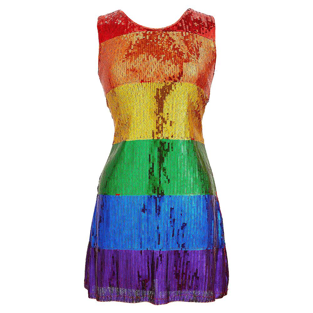 Nav Item for Adult Rainbow Sequin Dress Image #1