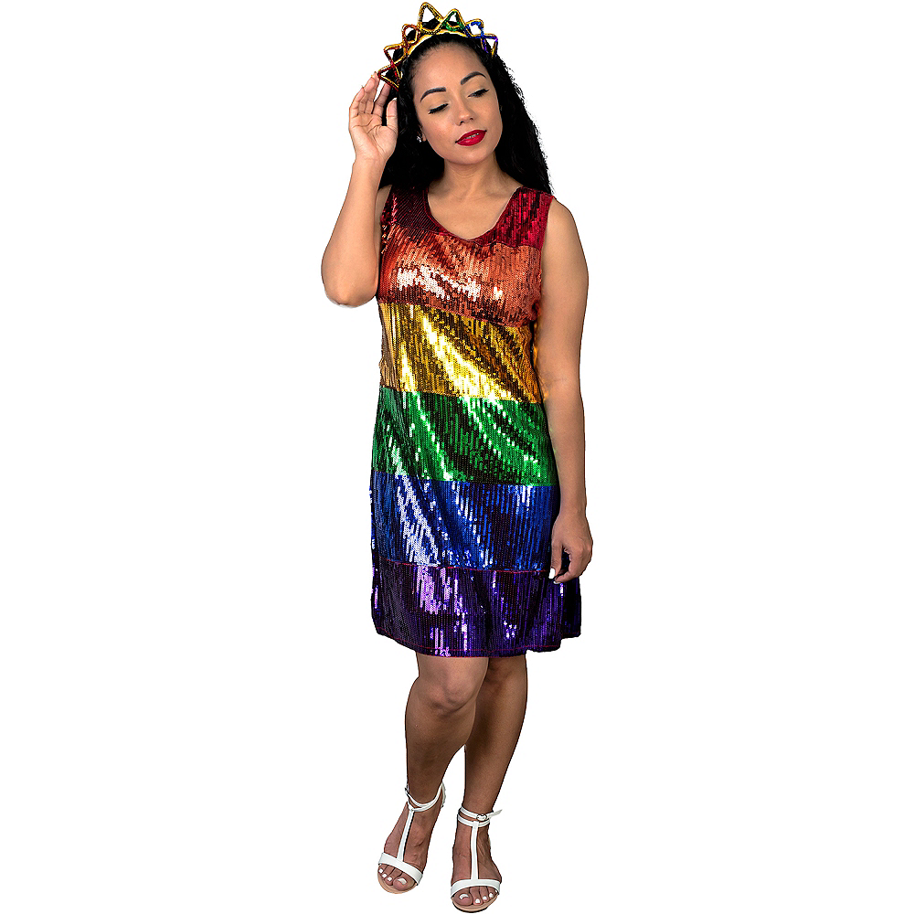 Nav Item for Adult Rainbow Sequin Dress Image #3