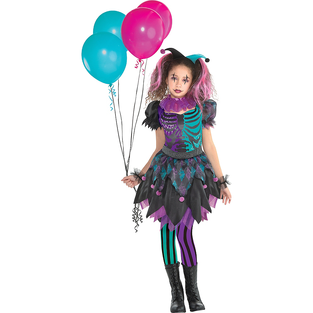 Girls Haunted Harlequin Costume Image #1