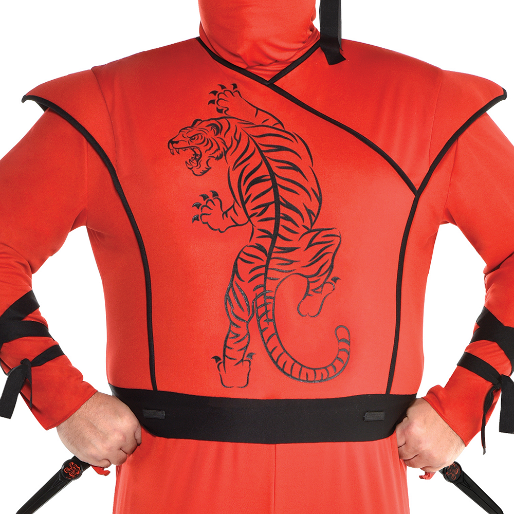 Mens Red Ninja Costume Plus Size Image #3
