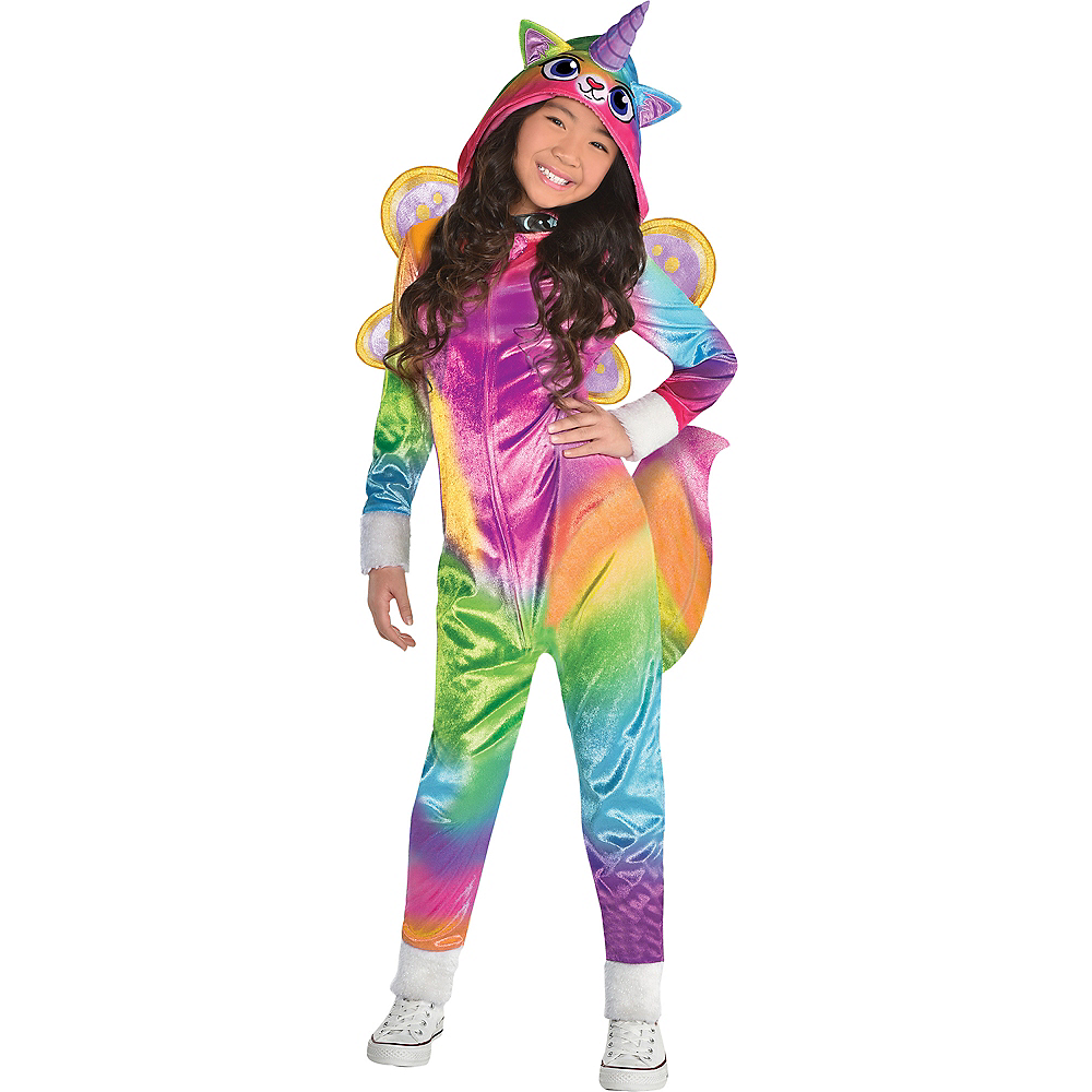 Nav Item for Girls Felicity Costume - Rainbow Kitty Unicorn Image #1
