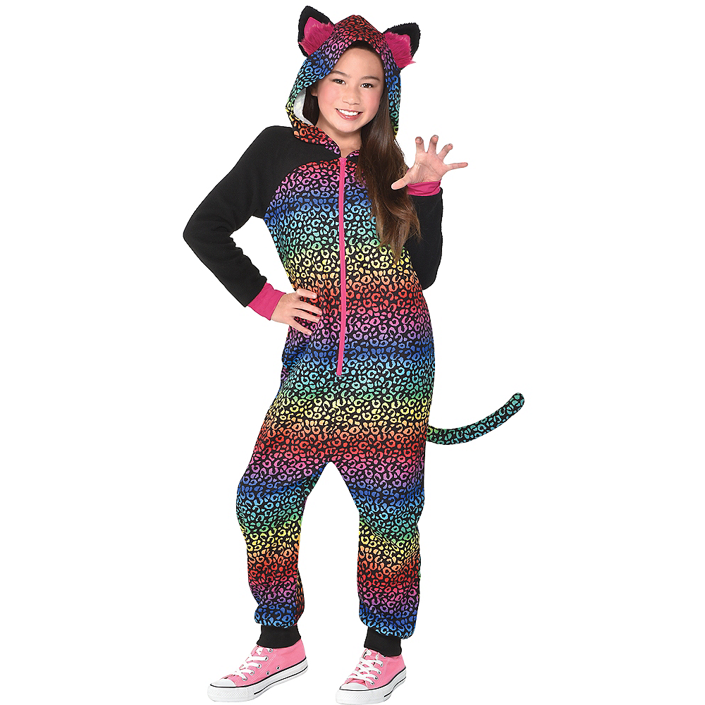 Girls Zipster Rainbow Spots One Piece Costume Image #1