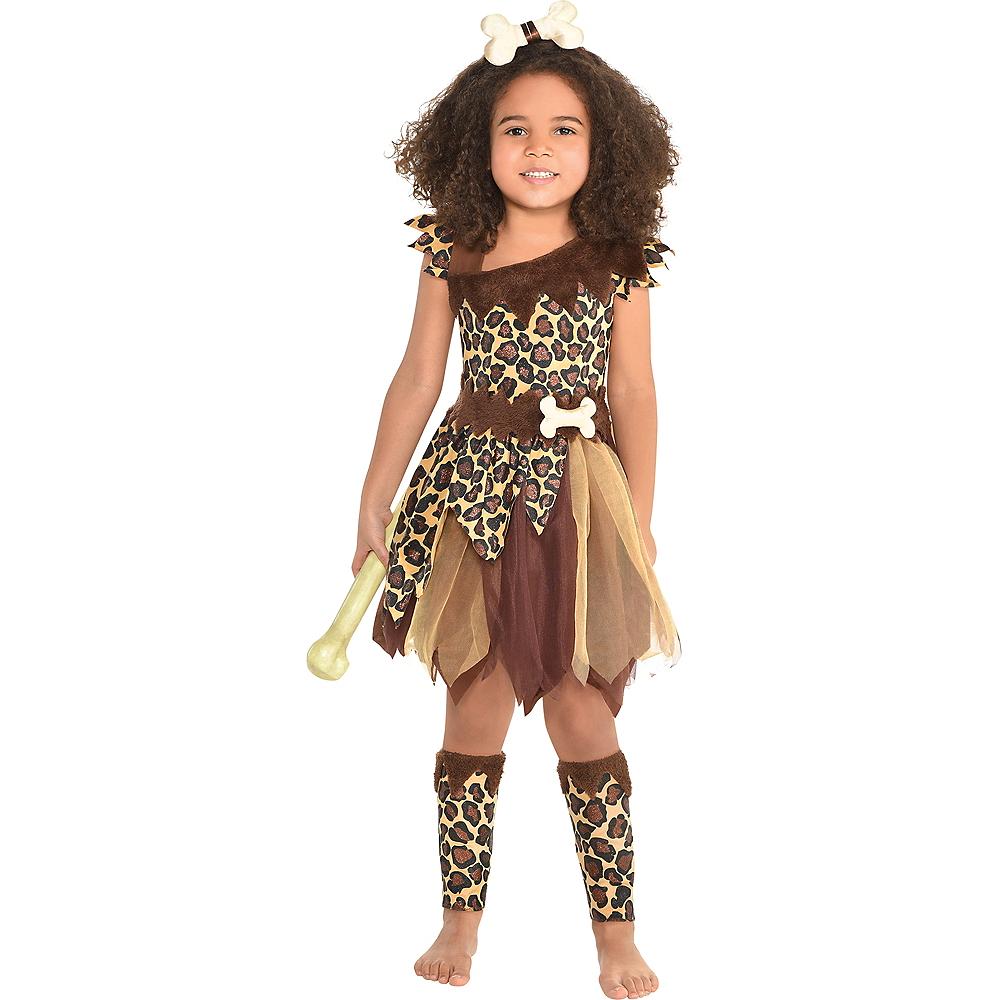 Girls Cavewoman Costume Image #1