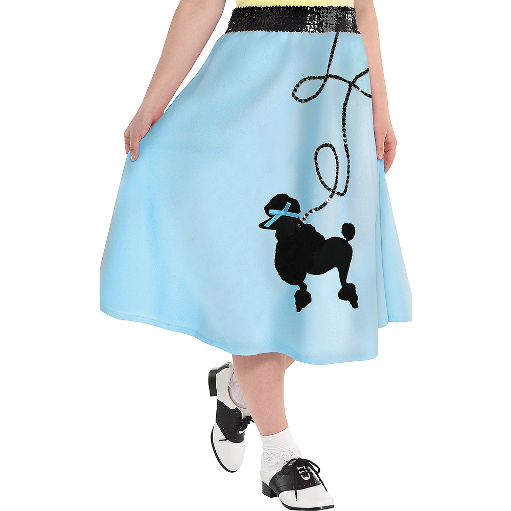 Adult Light Blue 50s Poodle Skirt Plus Size