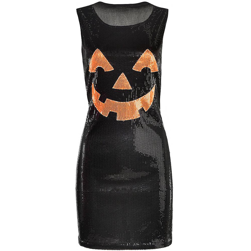 Womens Black Sequin Jack-o'-Lantern Dress Image #2