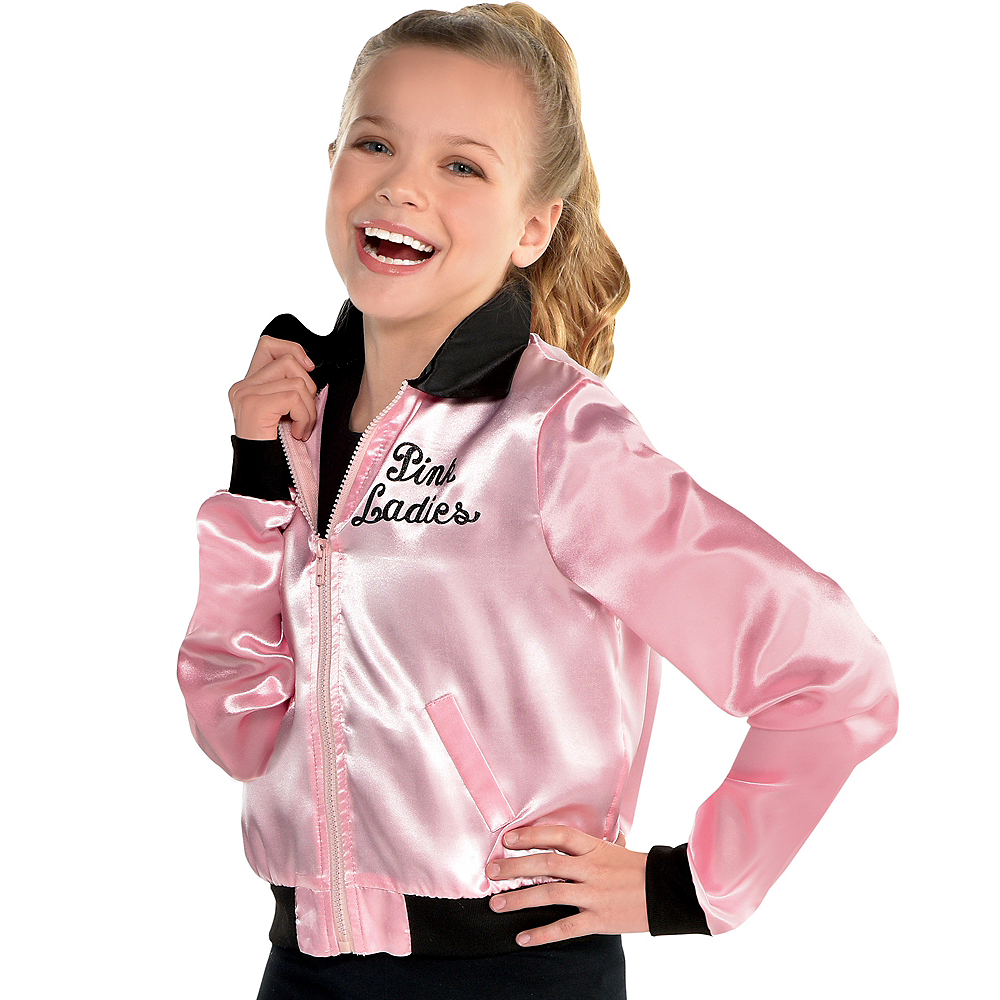 38a86a871d98 Girls Pink Ladies Jacket - Grease Image  1 ...
