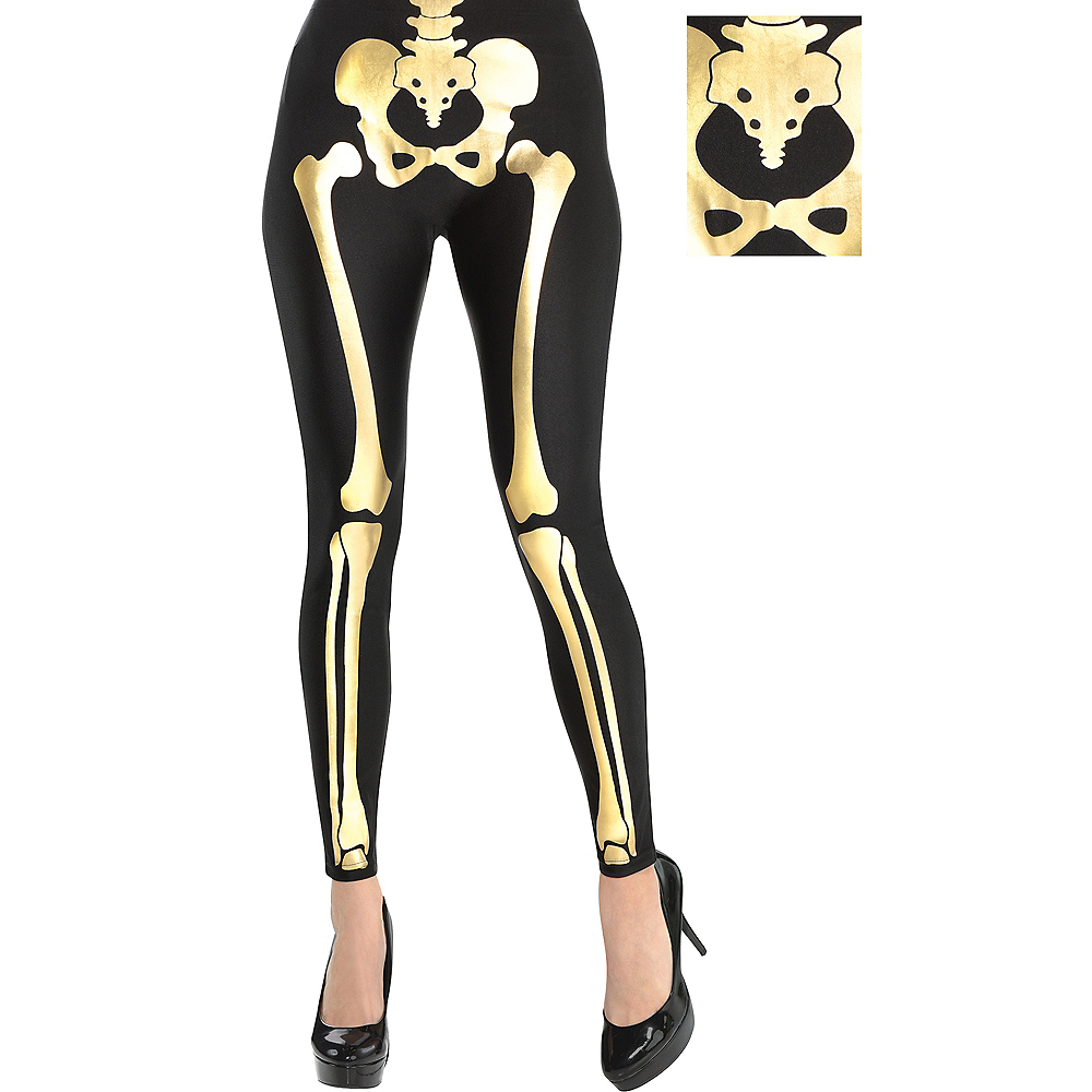 Womens Black & Gold Skeleton Leggings Image #1