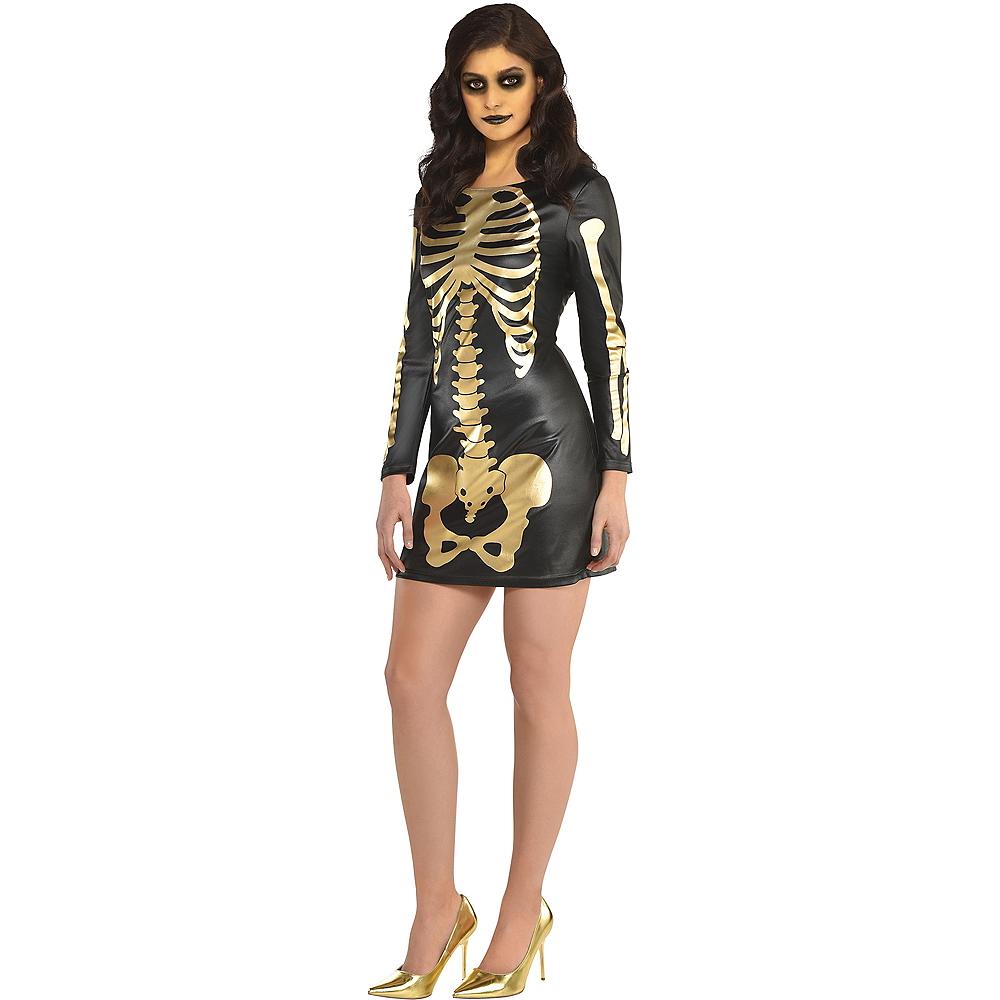 Womens Black & Gold Skeleton Dress Image #1