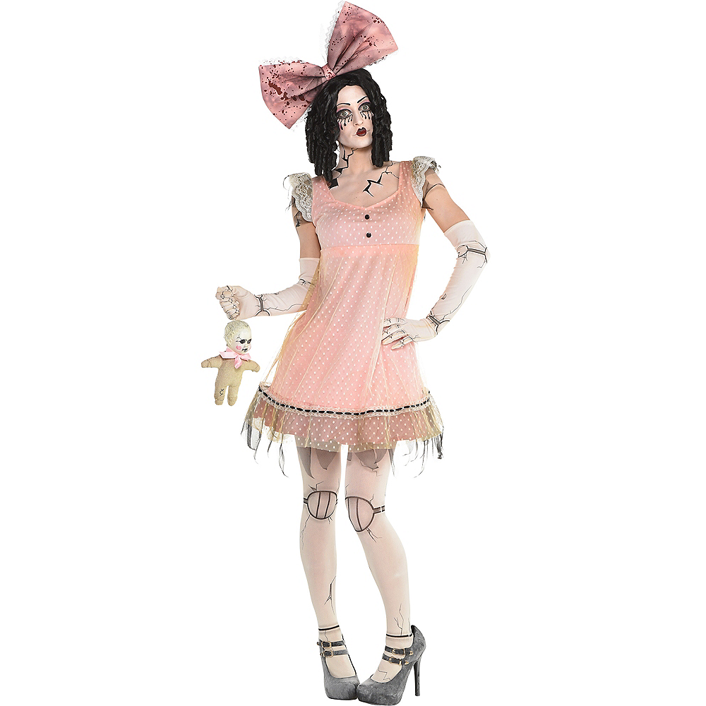Womens Pink Creepy Doll Dress Image #1