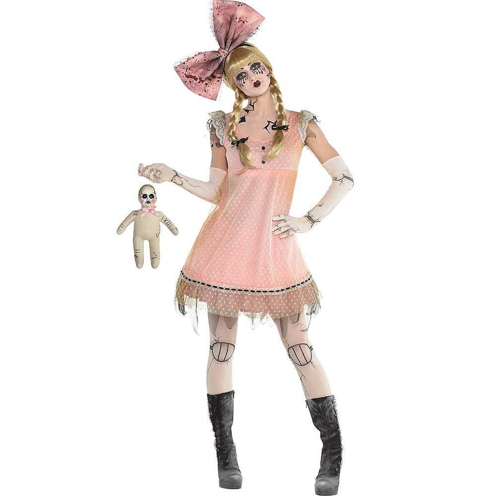 Womens Pink Creepy Doll Dress Image #2