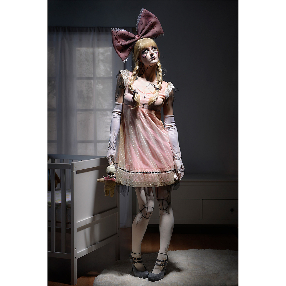 Womens Pink Creepy Doll Dress Image #3