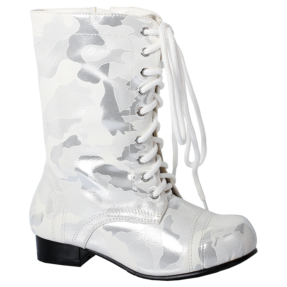 Nav Item for Girls White Viva Combat Boots Image #1