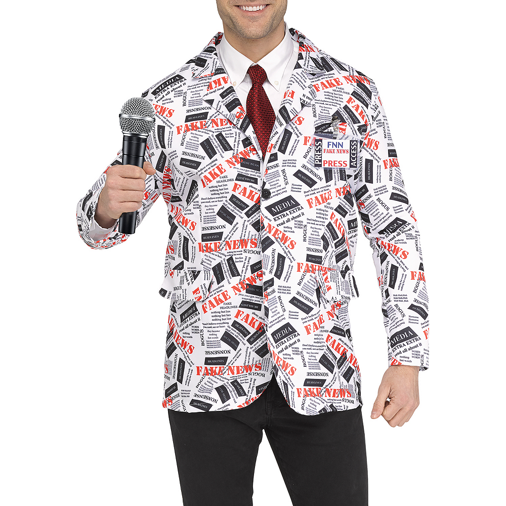 Mens Fake News Reporter Costume Image #2