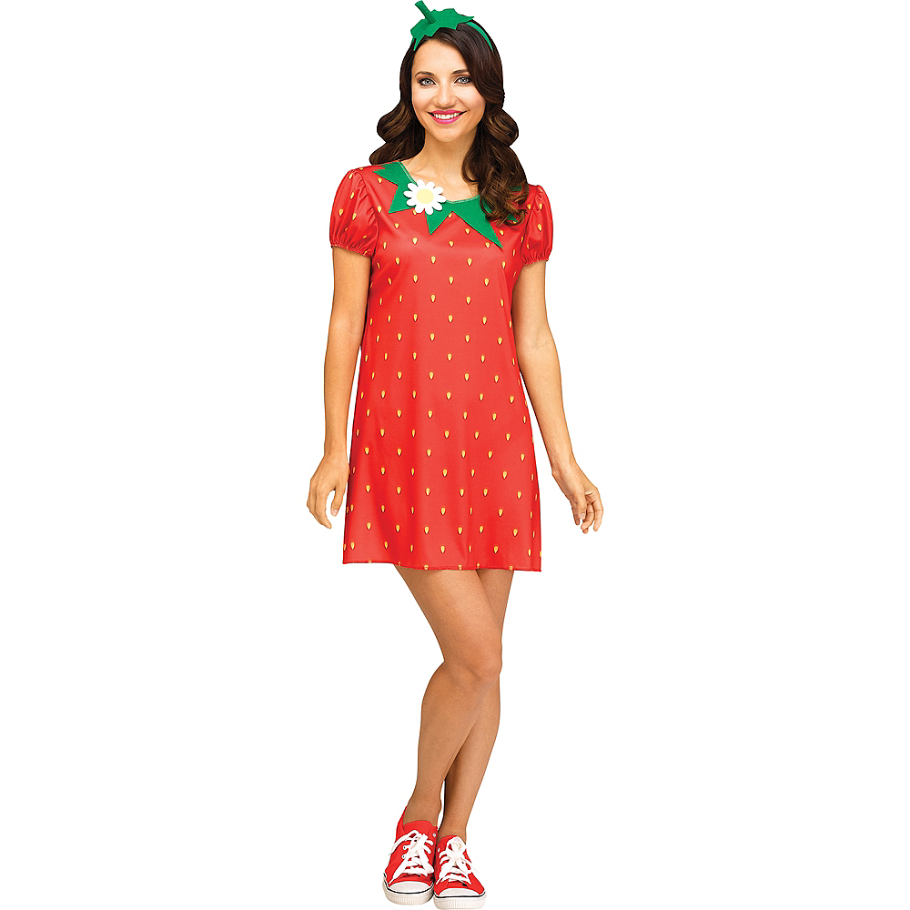 Womens Flirty Fruit Strawberry Costume Image #1