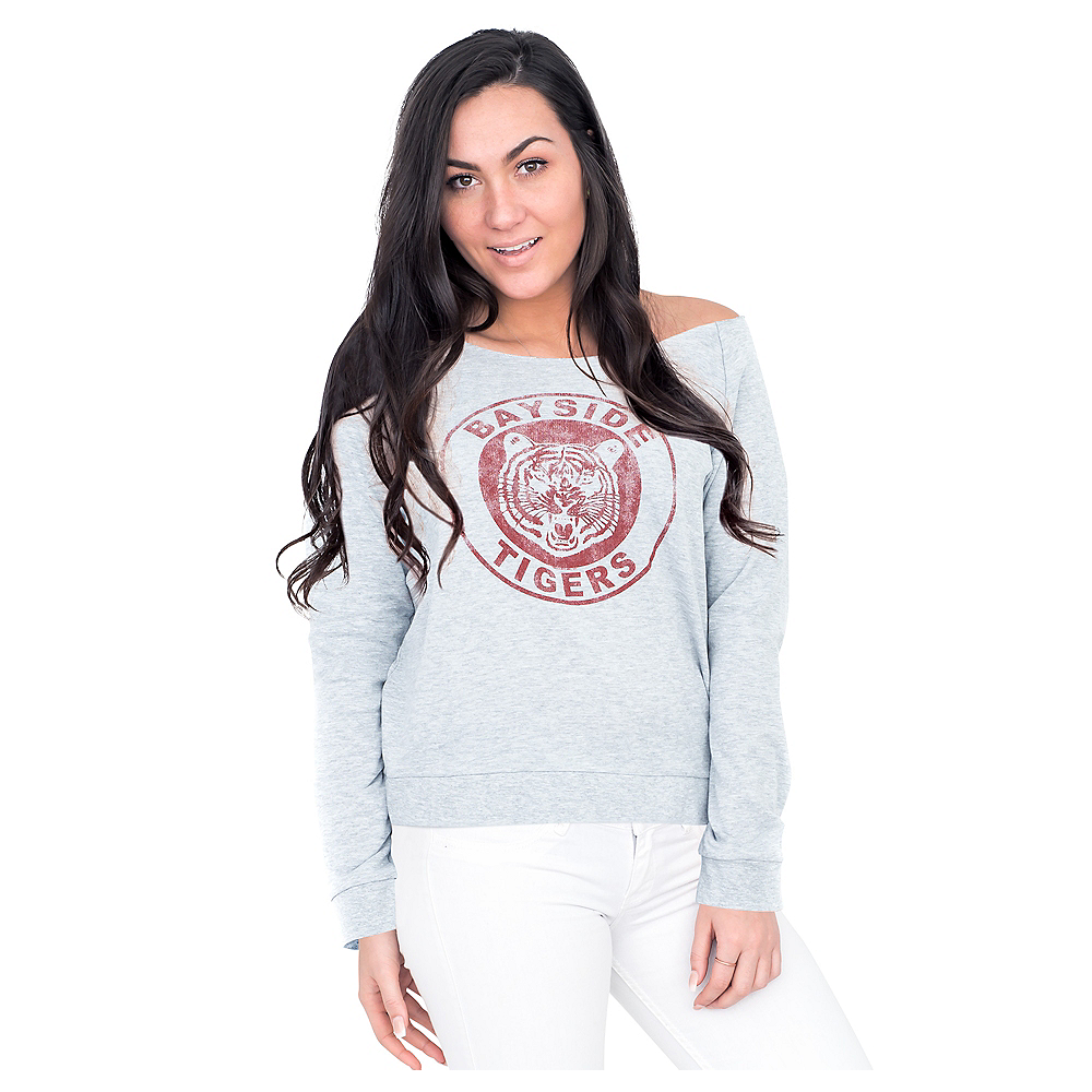 Bayside Tigers Off-The-Shoulder Sweater - Saved by the Bell | Party City
