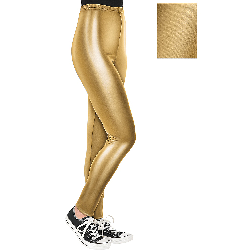 Womens Gold Leggings Image #1