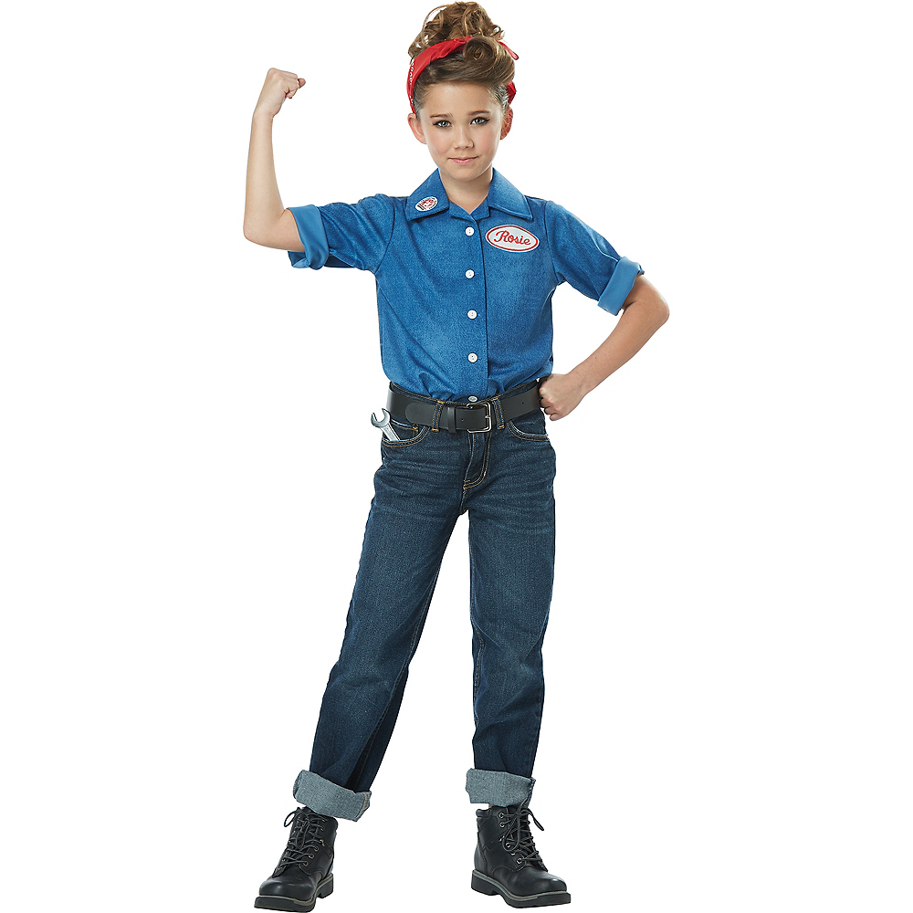 Girls Rosie the Riveter Costume Image #1