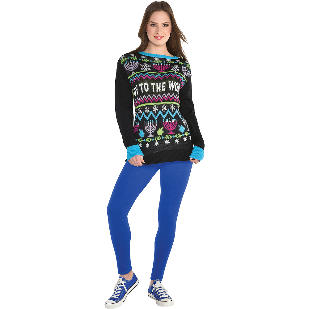 Nav Item for Oy to the World Ugly Hanukkah Sweater Image #1