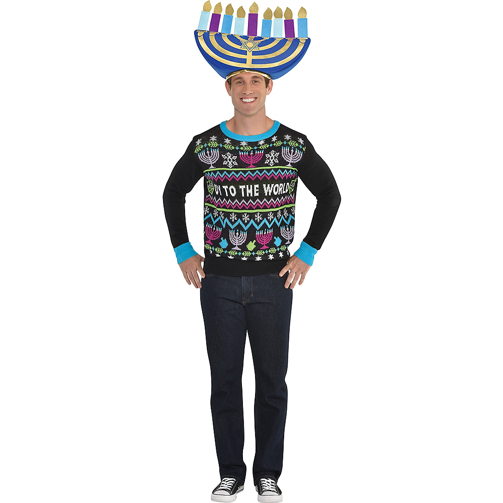 Oy to the World Ugly Hanukkah Sweater Image #2