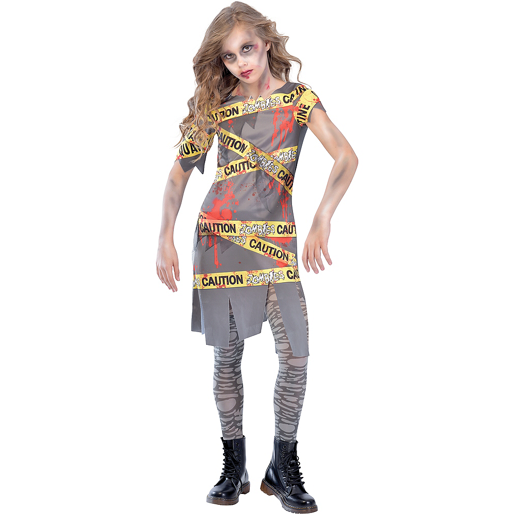 Nav Item for Girls Caution Tape Zombie Costume Image #1