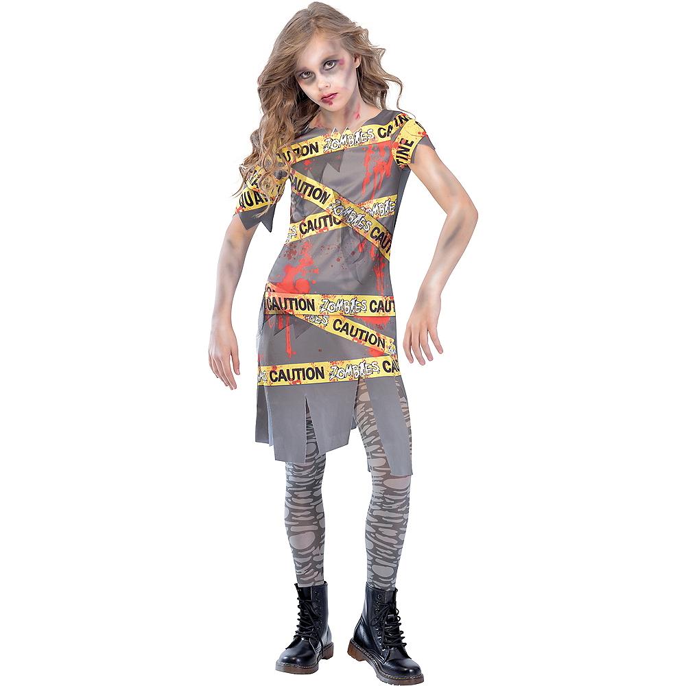 Girls Caution Tape Zombie Costume Image #1