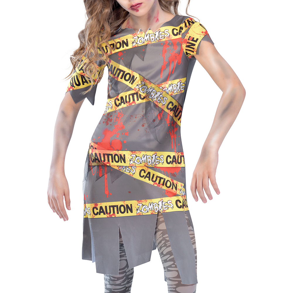 Nav Item for Girls Caution Tape Zombie Costume Image #2