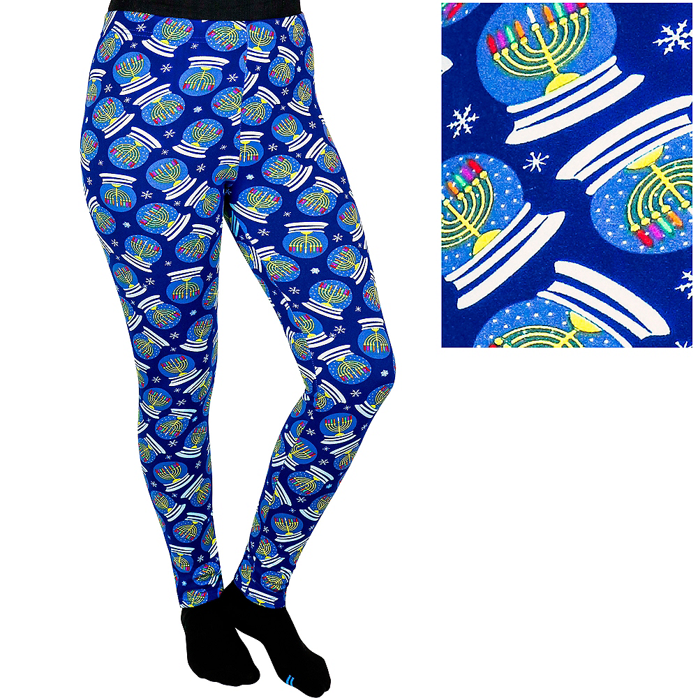 Child Snow Globe Menorah Leggings Image #1