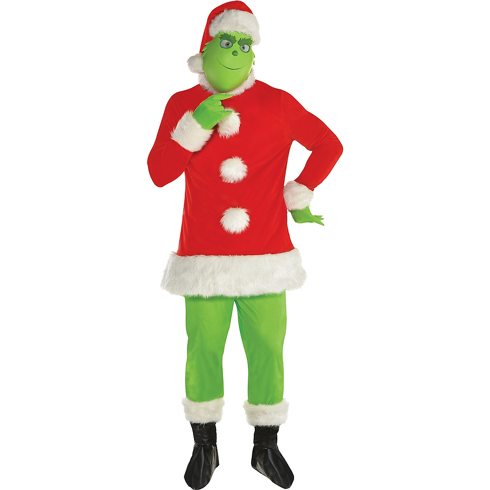 Adult Grinch Santa Costume Image #1