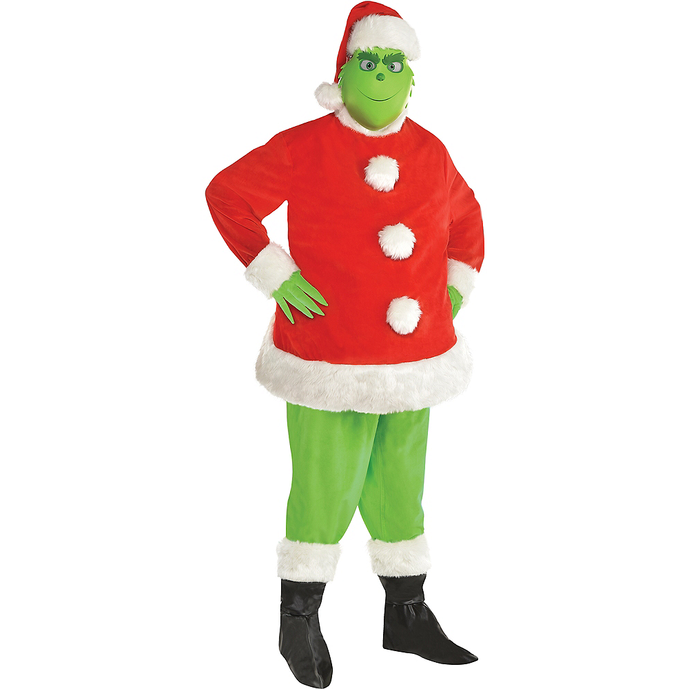Adult Grinch Santa Costume Plus Size Image #1