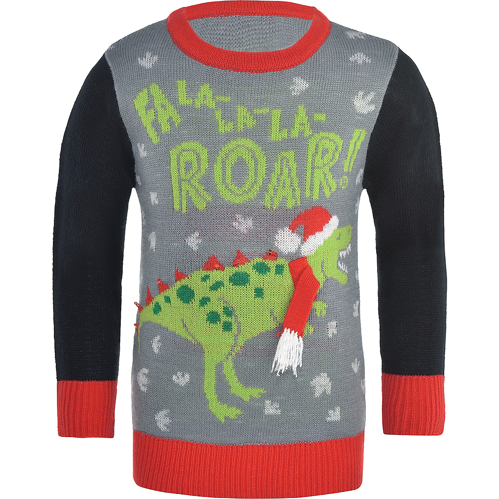 40ff4f7f81537 Child Light-Up Dinosaur Ugly Christmas Sweater Image  1