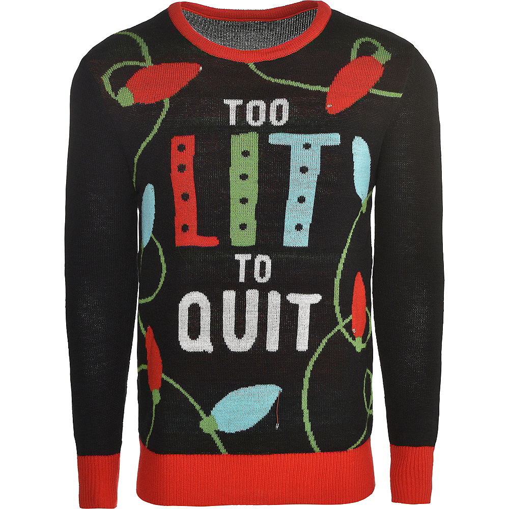 Light-Up Too Lit To Quit Ugly Christmas Sweater | Party City