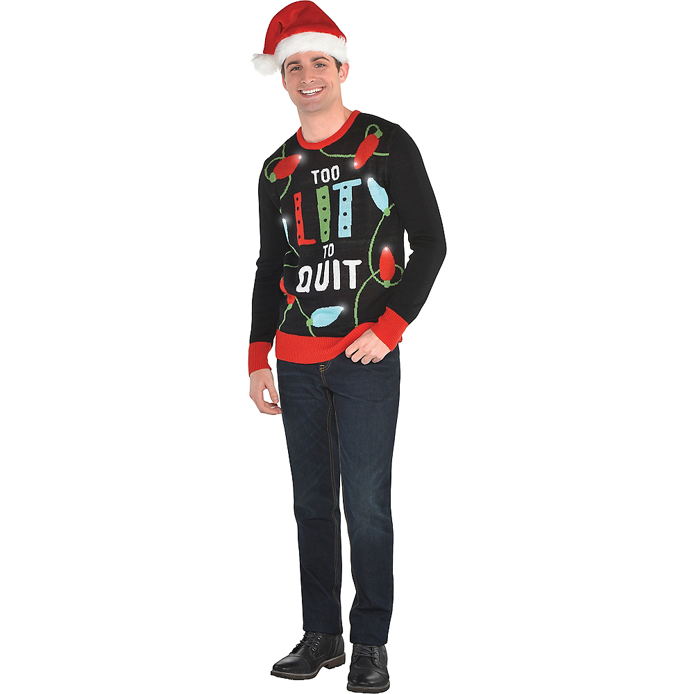 Light-Up Too Lit To Quit Ugly Christmas Sweater   Party City