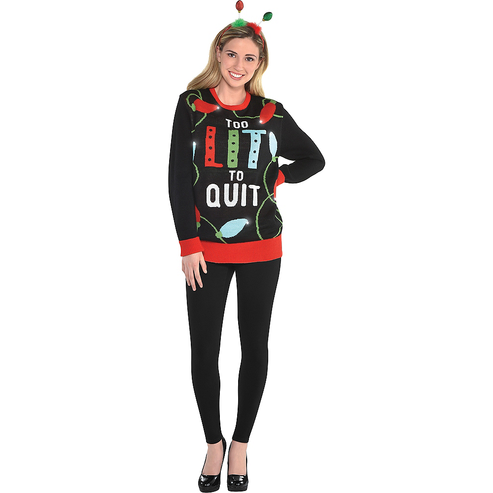 Light-Up Too Lit To Quit Ugly Christmas Sweater Image #3