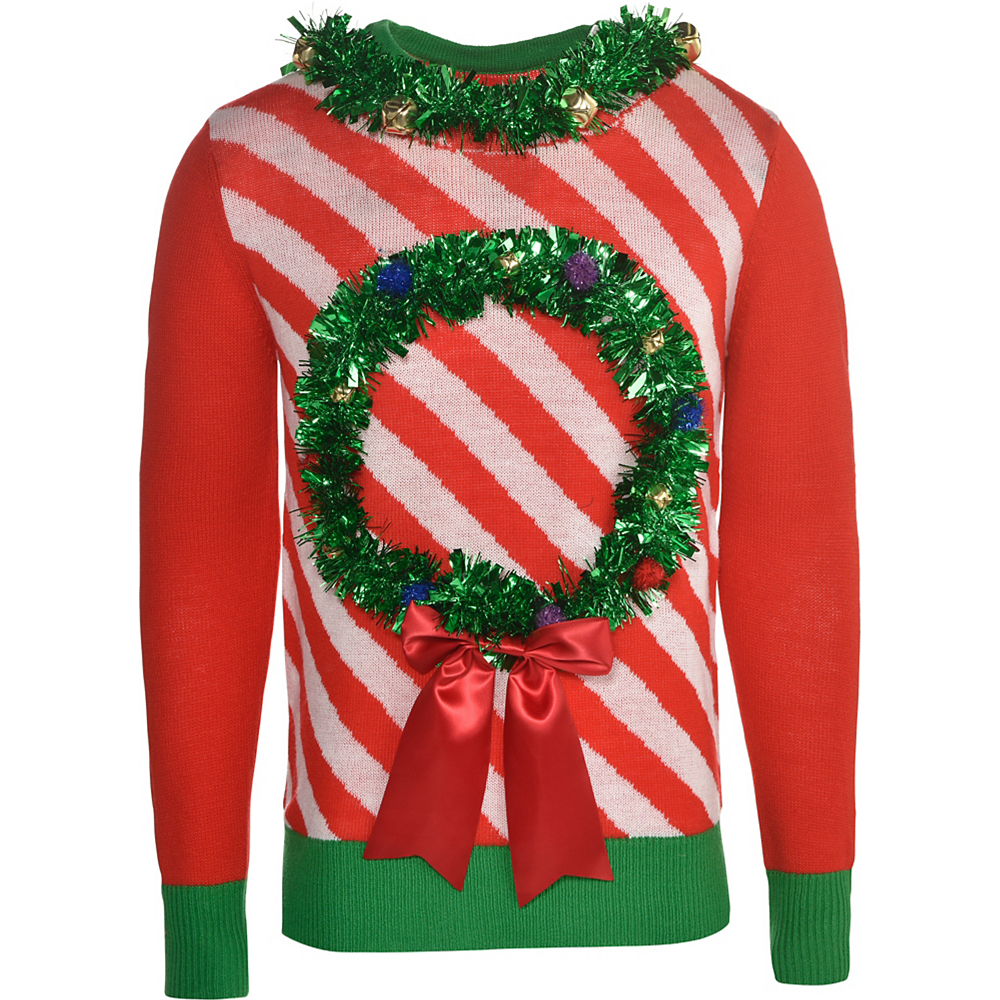 Ugly Christmas Sweaters.Tinsel Wreath Ugly Christmas Sweater