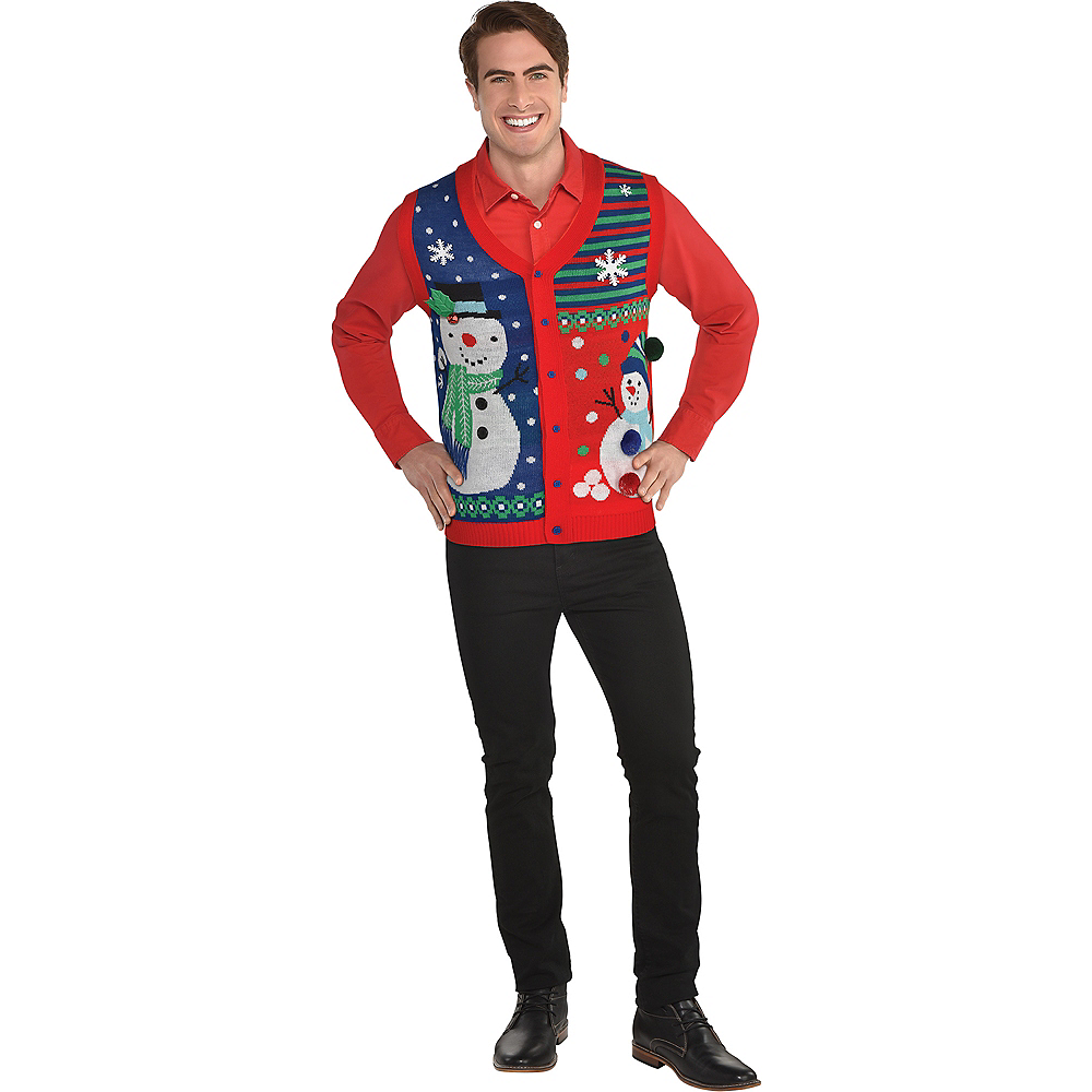 Snowflakes & Snowman Ugly Christmas Sweater Vest Image #1