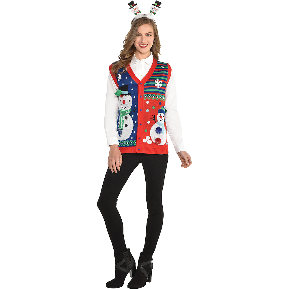 Snowflakes & Snowman Ugly Christmas Sweater Vest Image #2
