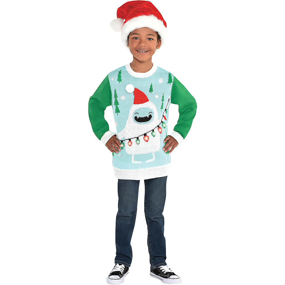 Child Light-Up Yeti Ugly Christmas Sweater | Party City