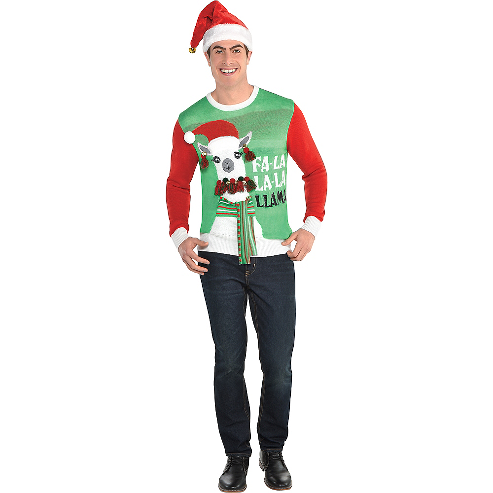 Nav Item for Adult Llama Ugly Christmas Sweater Image #1
