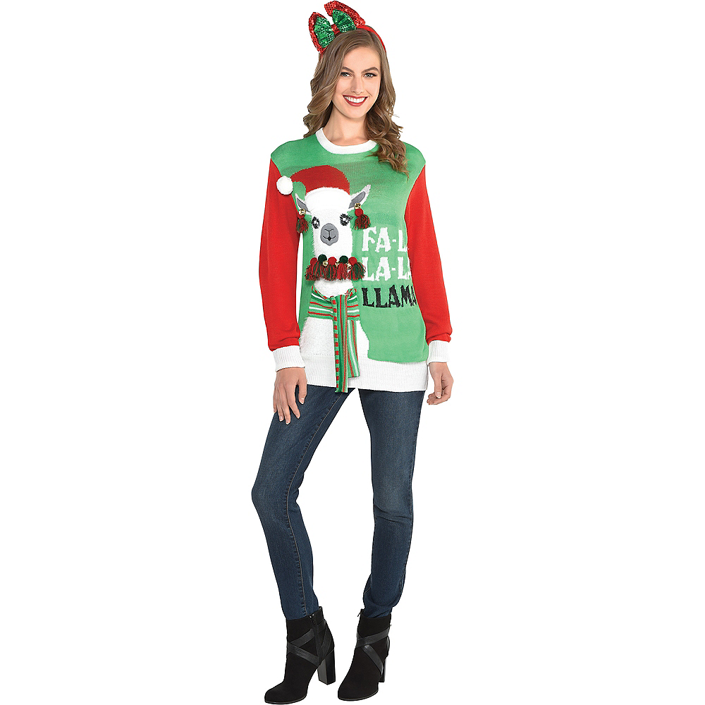 Nav Item for Adult Llama Ugly Christmas Sweater Image #2