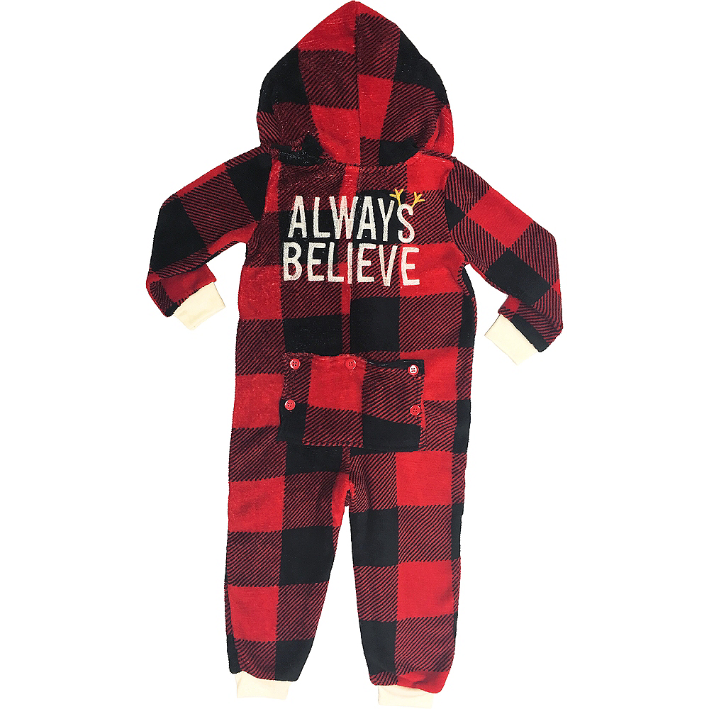 Toddler Zipster Buffalo Plaid Always Believe One Piece Pajamas Image #1