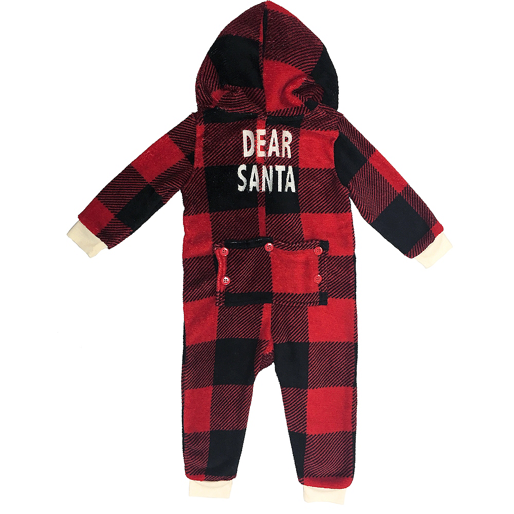Baby Zipster Buffalo Plaid Dear Santa One Piece Pajamas Image #1