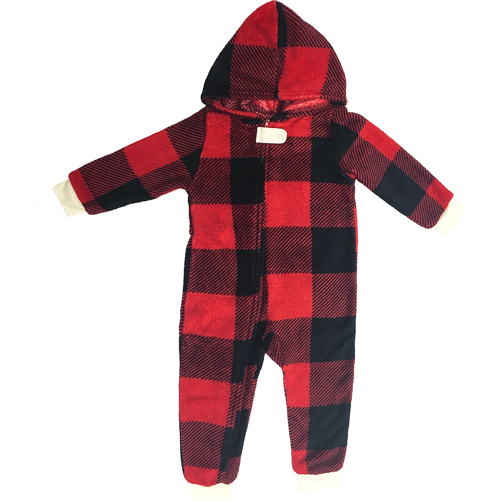 Baby Zipster Buffalo Plaid Dear Santa One Piece Pajamas Image #2