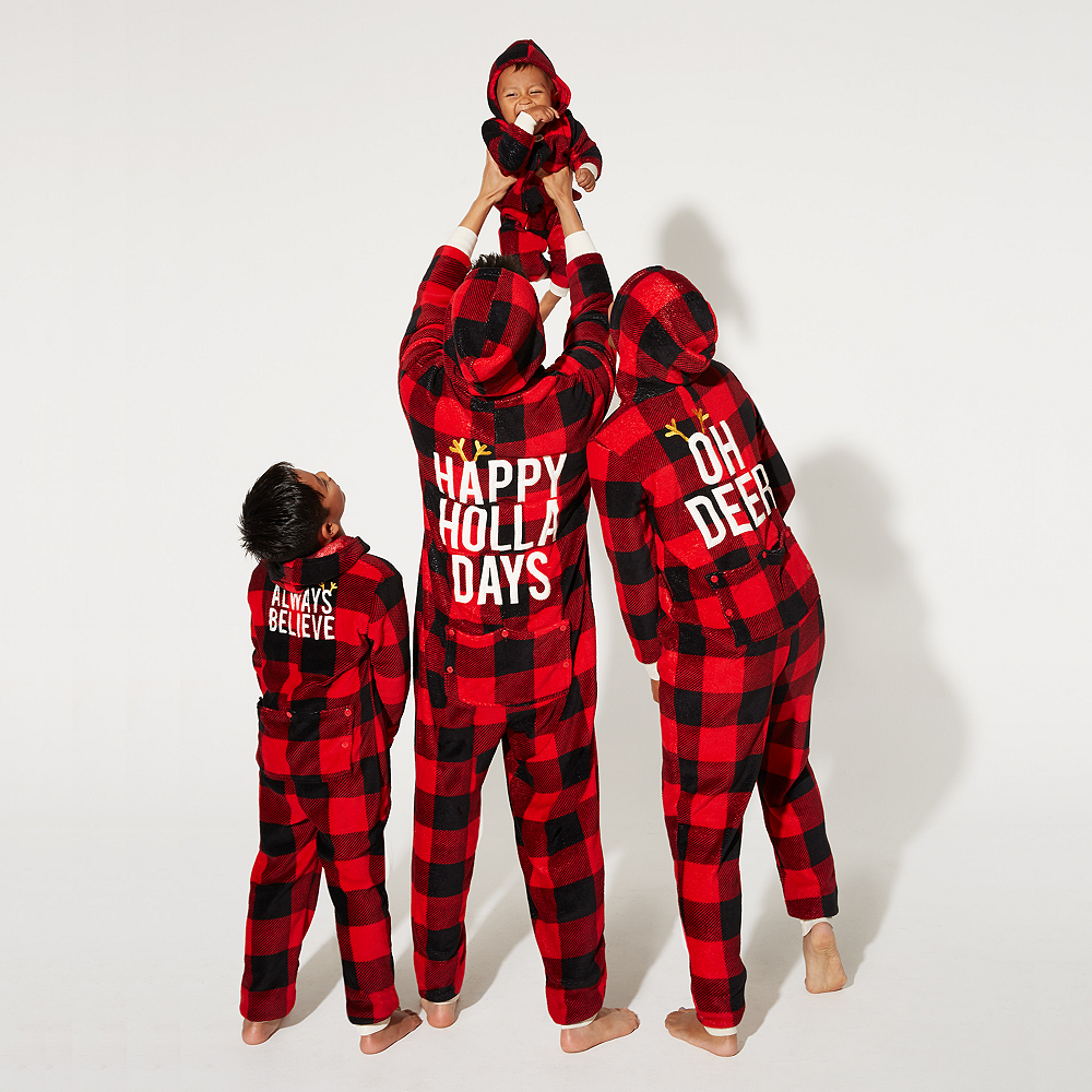 Baby Zipster Buffalo Plaid Dear Santa One Piece Pajamas Image #3