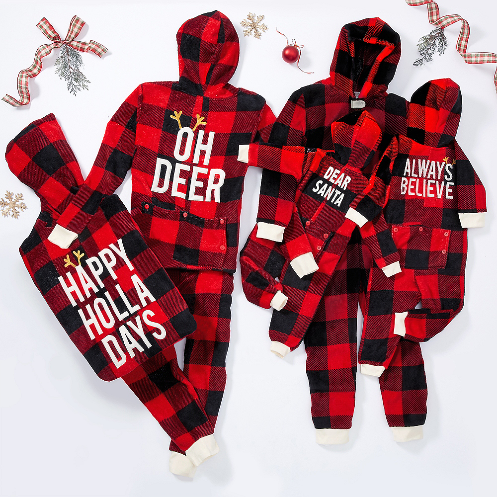 Baby Zipster Buffalo Plaid Dear Santa One Piece Pajamas Image #4