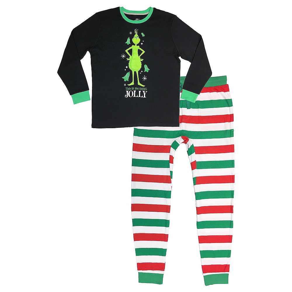 Adult Me Being Jolly Grinch Pajamas Image #1