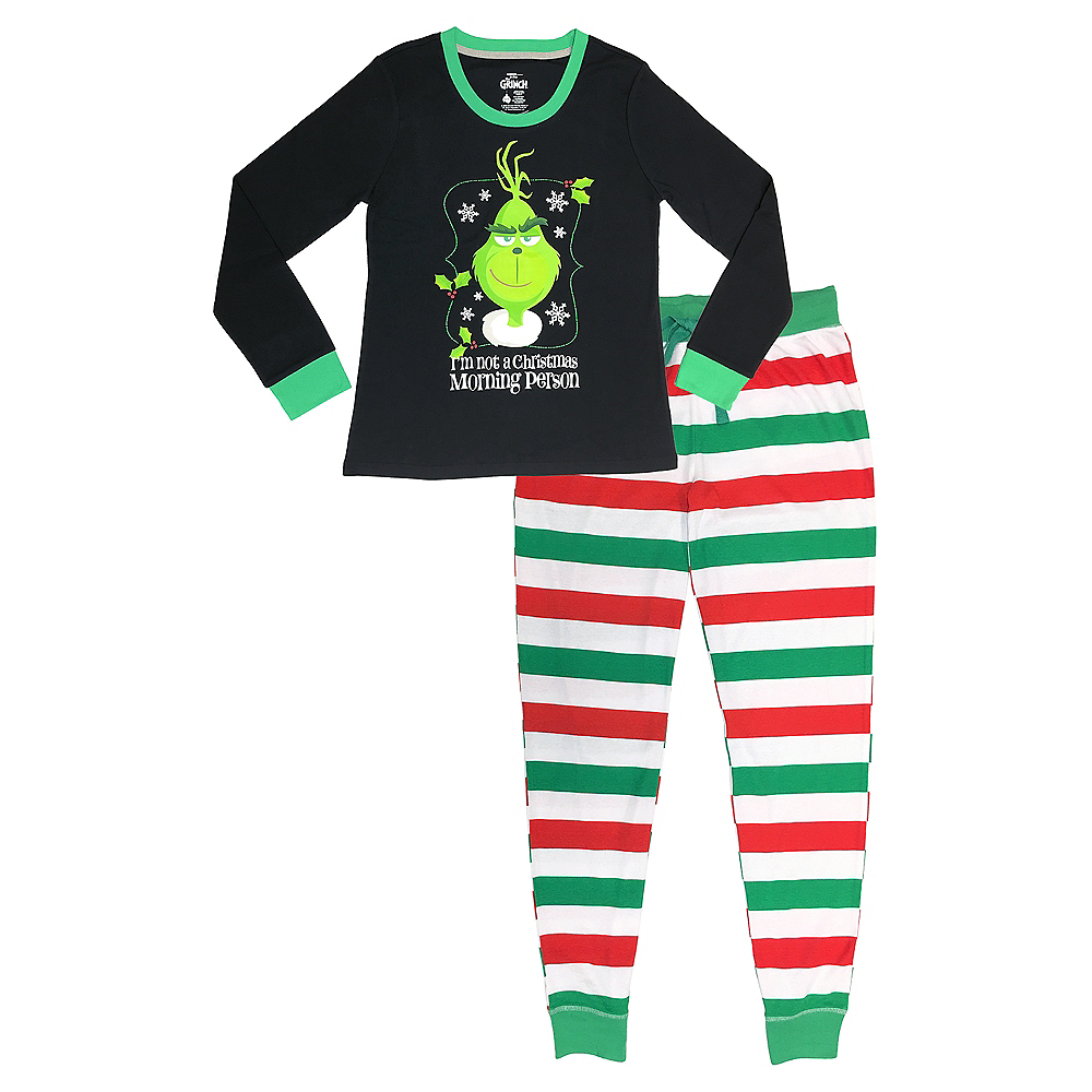 Adult Not a Christmas Morning Person Grinch Pajamas Image #1